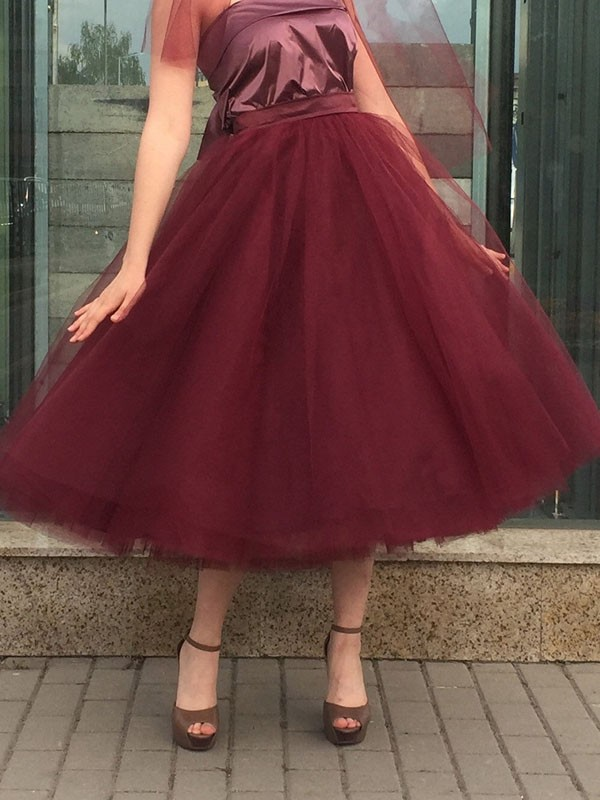 661730361 Burgundy Patchwork Grenadine Pleated Plus Size High Waisted Tutu Cute  Homecoming Party Skirt - Skirts - Bottoms