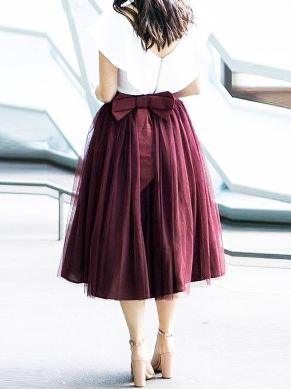 1e24d4c188f0 Burgundy Pleated Grenadine Bowknot Plus Size High Waisted Tutu Homecoming Party  Midi Skirt - Skirts - Bottoms