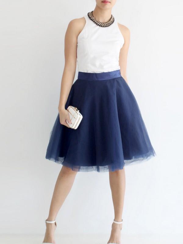 beau look énorme réduction 2019 meilleurs Mi-longue jupe plissé bouffante tutu en tulle élégant femme bleu marine