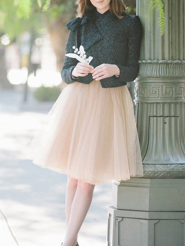 2f69a06db2 Apricot Pleated Grenadine High Waisted Party Tulle Midi Skirt - Skirts -  Bottoms