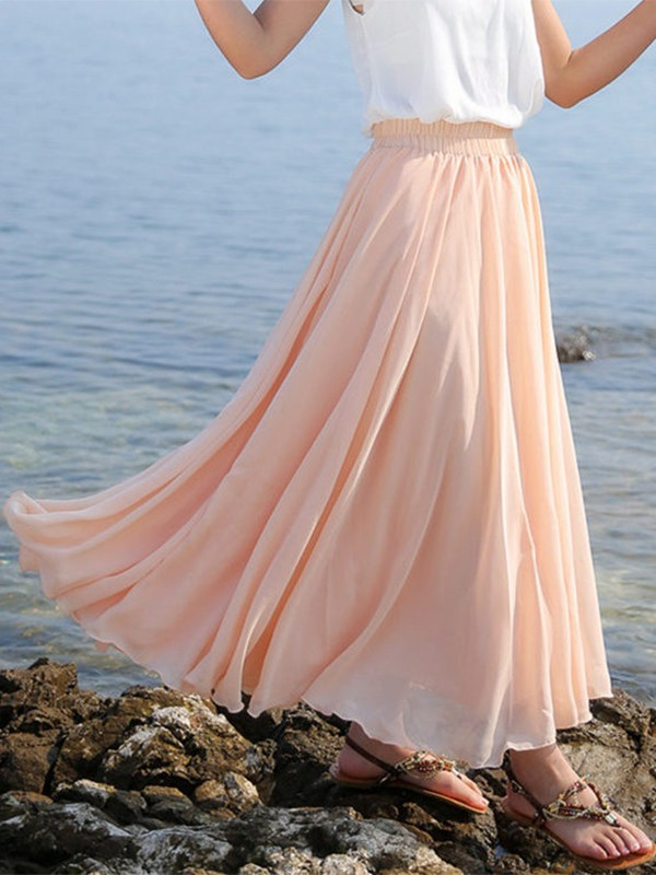 71806a7be4 Pink Patchwork Pleated High Waisted Tulle Tutu Flowy Chiffon Solid Big Swing  Bohemian Long Skirt