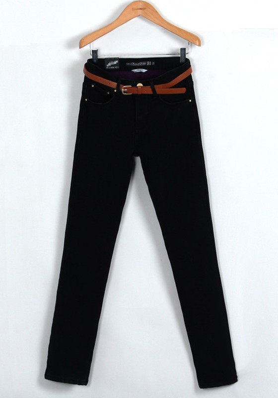 Black Plain Belt Zipper Long Skinny Denim Jeans - Jeans - Bottoms