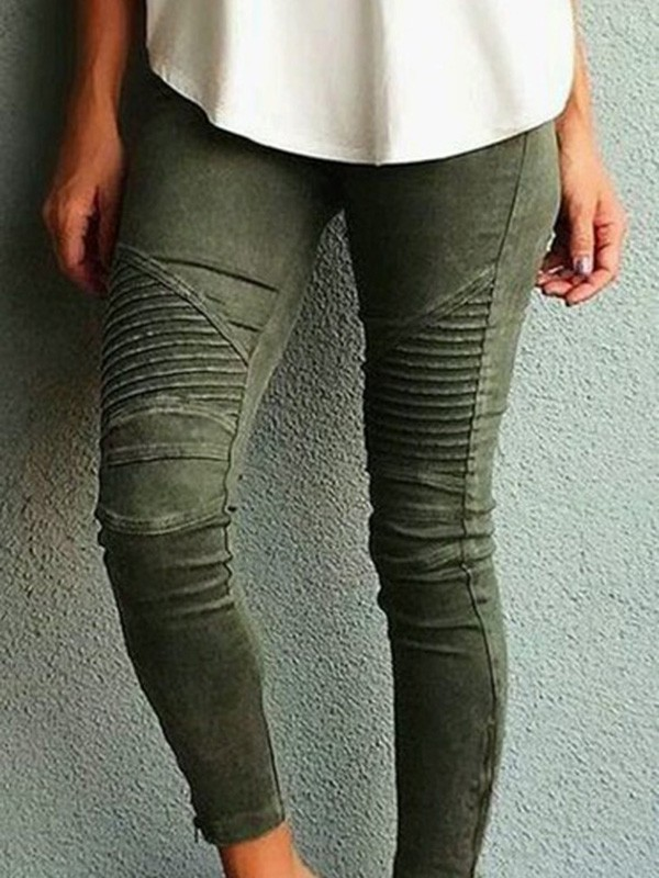 2f54465ee695 ... kaki vert femme. Army Green Plain Pockets Buttons Mid-rise Casual Long  Jeans