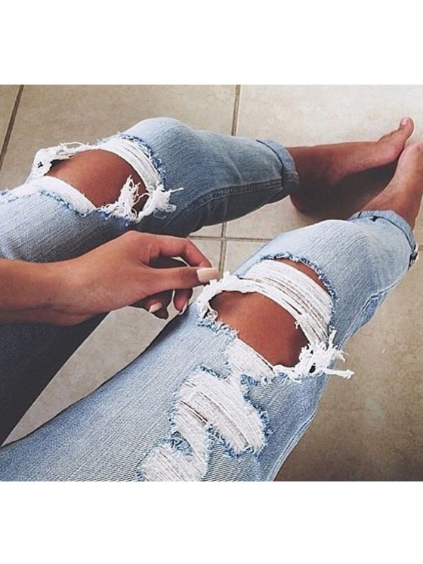 Light blue buttons hollow out ripped distressed denim long - Zerrissene jeans damen ...