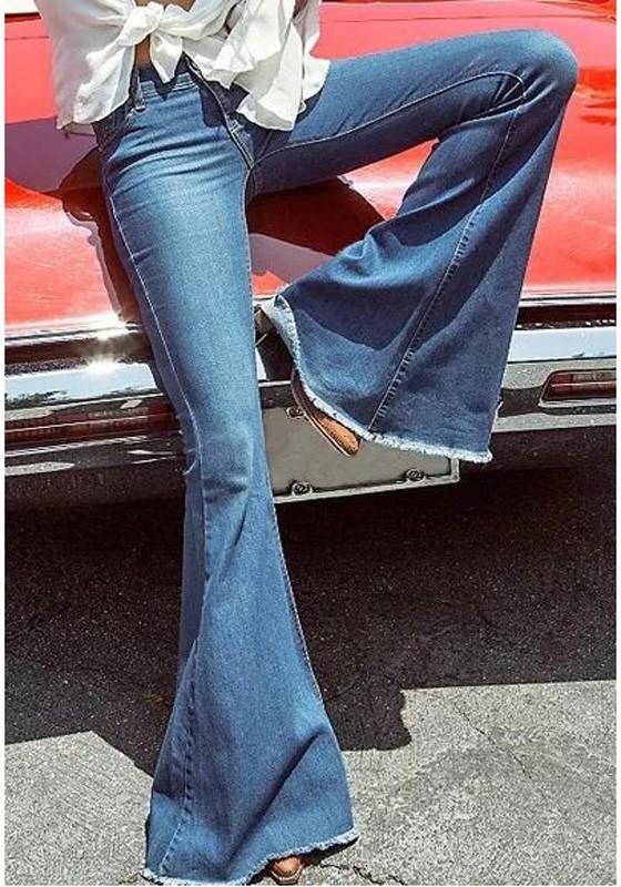 Dark Blue Pockets Bell Bottoms Long Flare Jeans