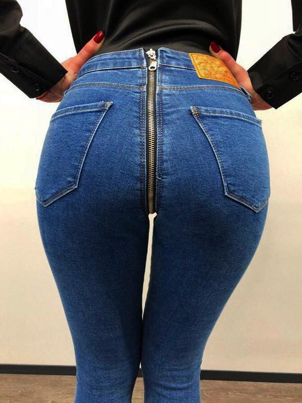 blau reissverschluss taschen high waist mode skinny push up po lang jeans damen jeans unterteile. Black Bedroom Furniture Sets. Home Design Ideas