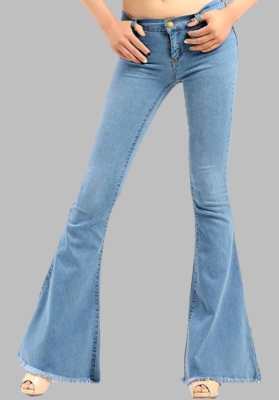 100% de garantía de satisfacción Zapatos 2018 nuevo lanzamiento Pantalones vaqueros largos botones bolsillos borla botones de campana  vendimia lindo azul claro