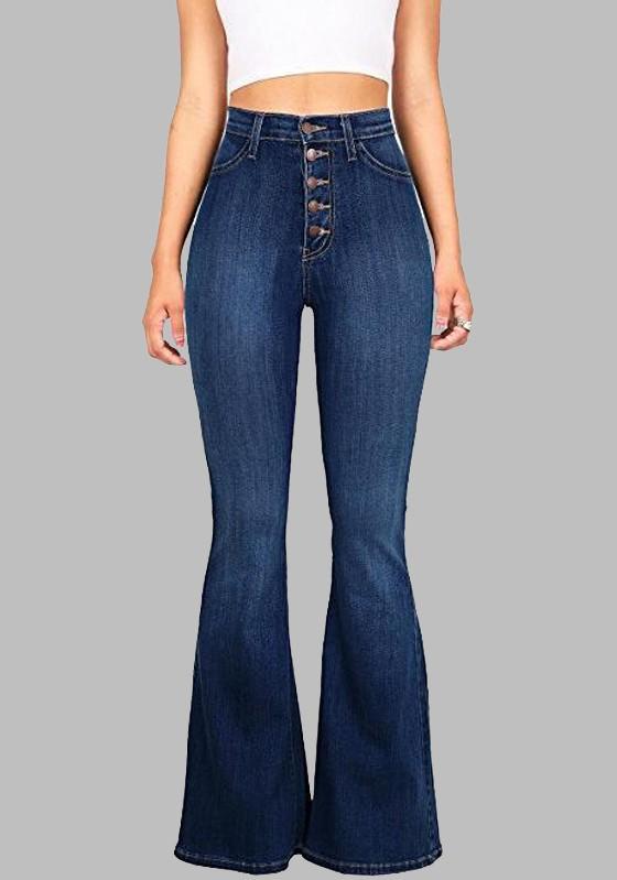 Dark Blue Buttons Pockets Vintage Bell-bottoms High Waisted Casual Long  Jeans - Jeans - Bottoms e899d8d5c