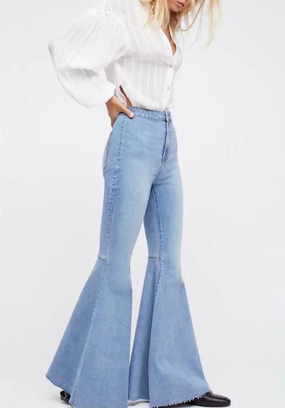 Light Blue Pockets Buttons High Waisted Boyfriend Slacks