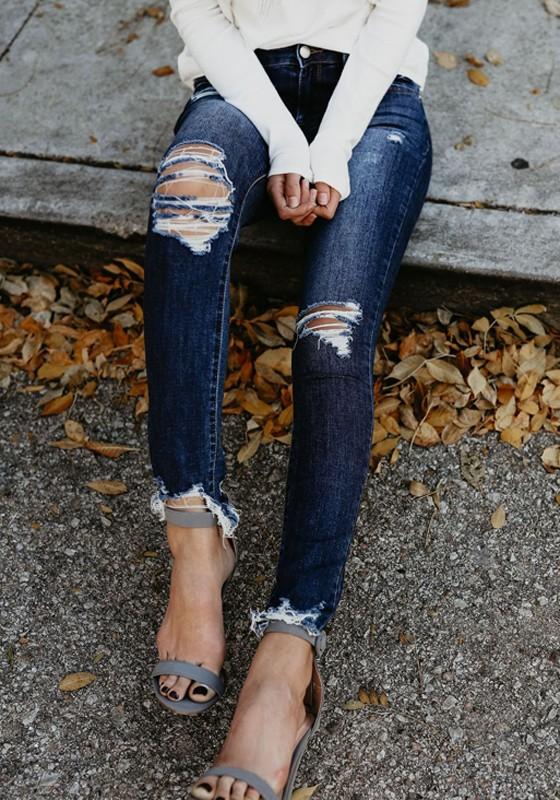 8e0724f25281 Longue jeans genou troué poches taille haute slim mode femme bleu foncé