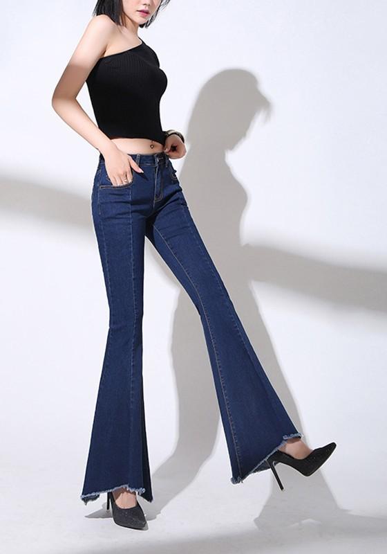 Pantalons Femme Longue Foncé Jeans Taille Flare Mode Bleu Slim Haute W29DYEHI
