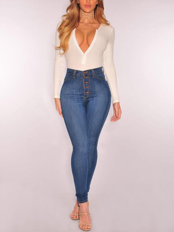 9a1f9cb0ee881 Light Blue Buttons Plus Size High Waisted Casual Oversized Vintage Mom  Booty Long Jeans - Jeans - Bottoms