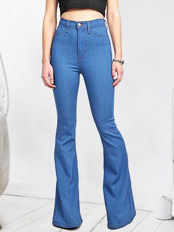Denim Bleu Mode Flare Femme Jeans Pantalons Culotte Haute Patte D'eph Slim N0wv8nOm