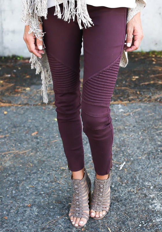 b001f68297d9 Wine Red Plain Zipper Elastic Waist Casual Long Leggings - Leggings -  Bottoms