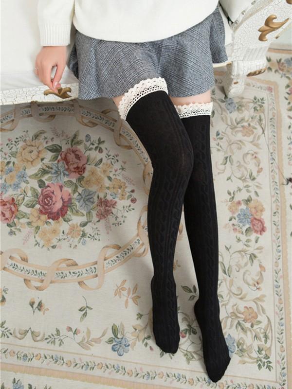 b3c61f21c5e Bas en laine crochet tricoté avec dentelle doux mignon femme genou haute  chaussettes noir