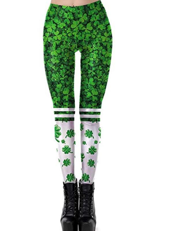 abec94273e7cde Green Four Leaf Clover Print Shamrock Workout Socks Yoga Sports St. Patrick's  Day Legging