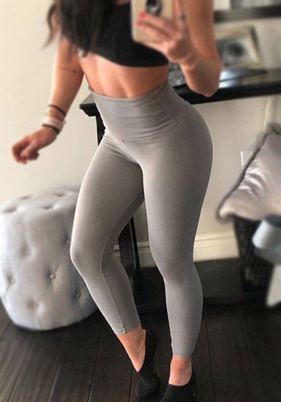 52cd89cf90a96a Graue High Waisted Fitness Workout Stretch Yoga Skinny Push Up Leggings  Günstig Damen Mode