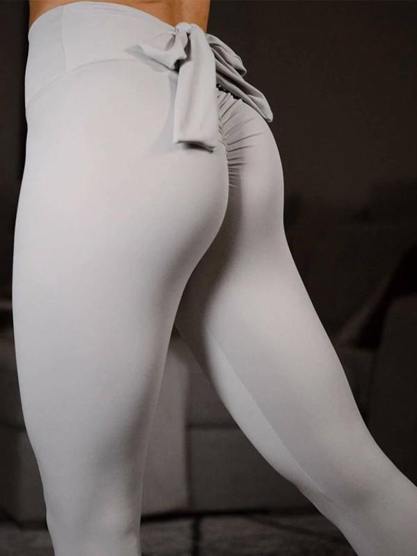 023a0eb30b106 Light Grey Bow Elastic Waist Cotton Fashion Long Leggings - Leggings -  Bottoms