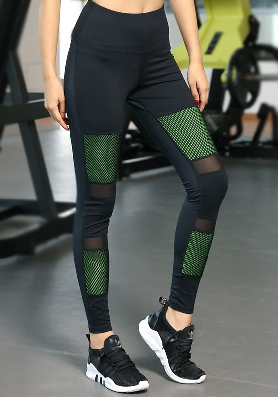 1077abccb820 Black-Green Patchwork Grenadine High Waisted Sports Yoga Workout Long  Legging - Leggings - Bottoms