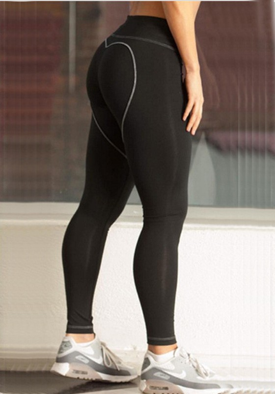 6bb8e793592 Black Heart Butt High Waisted Bodycon Yoga Sports Workout Long Legging -  Leggings - Bottoms