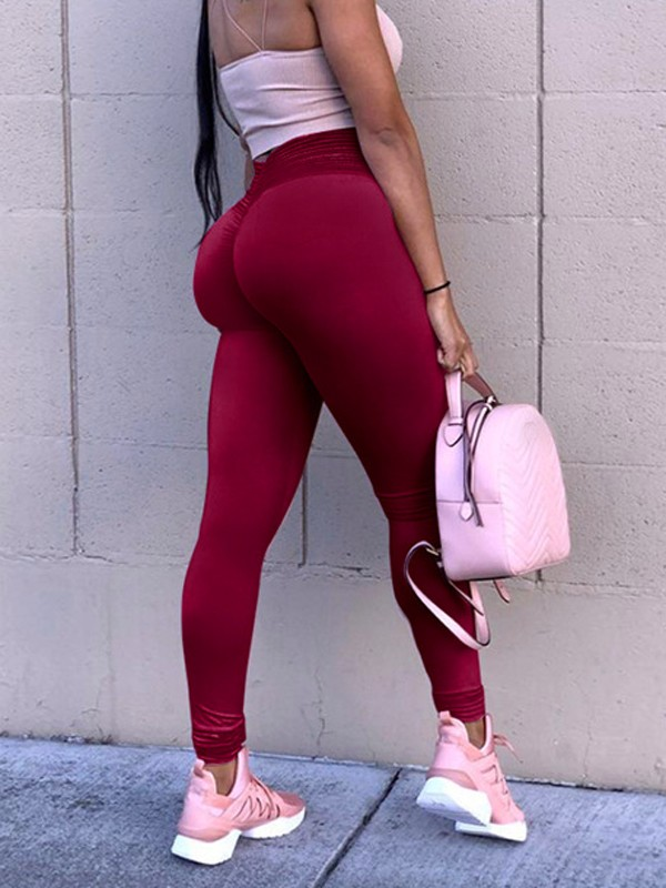 626e788e2961 Wine Red Patchwork Lace High Waisted Sports Yoga Push Up Skinny Legging -  Leggings - Bottoms