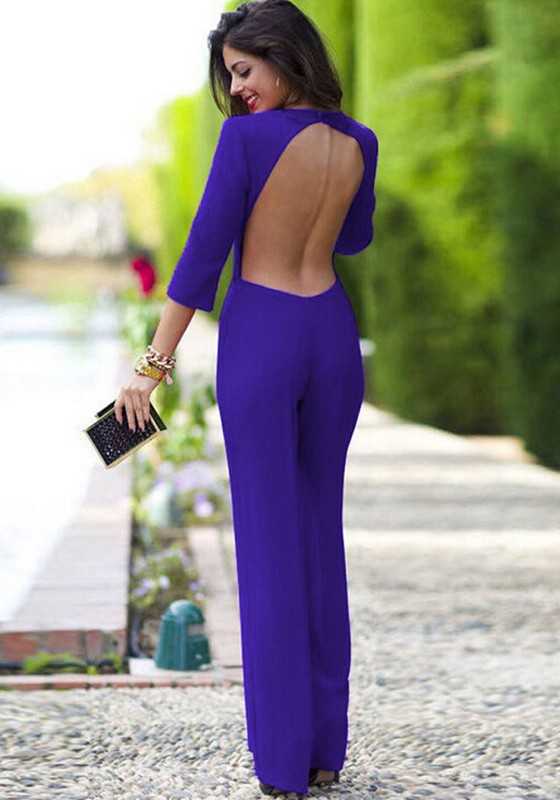 5ee7e960d67 Purple Plain Cut Out Perforate Nightclub Backless Bandage Bodycon 3 ...