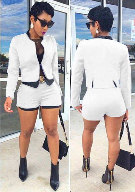 White One Button Long Sleeve Fashion Royal Blazer And Short - Shorts -  Bottoms 2fc57887afd