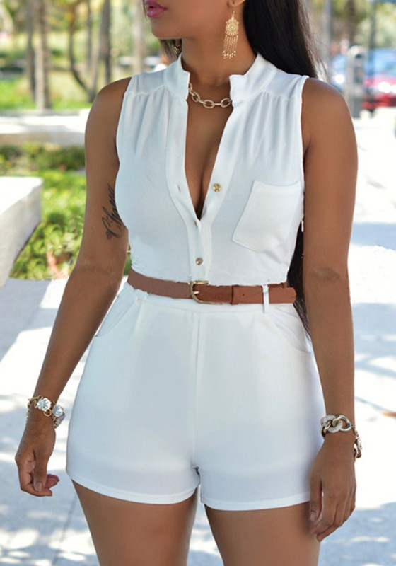 White Plain Belt Pockets Buttons Design High Waisted Fashion Short