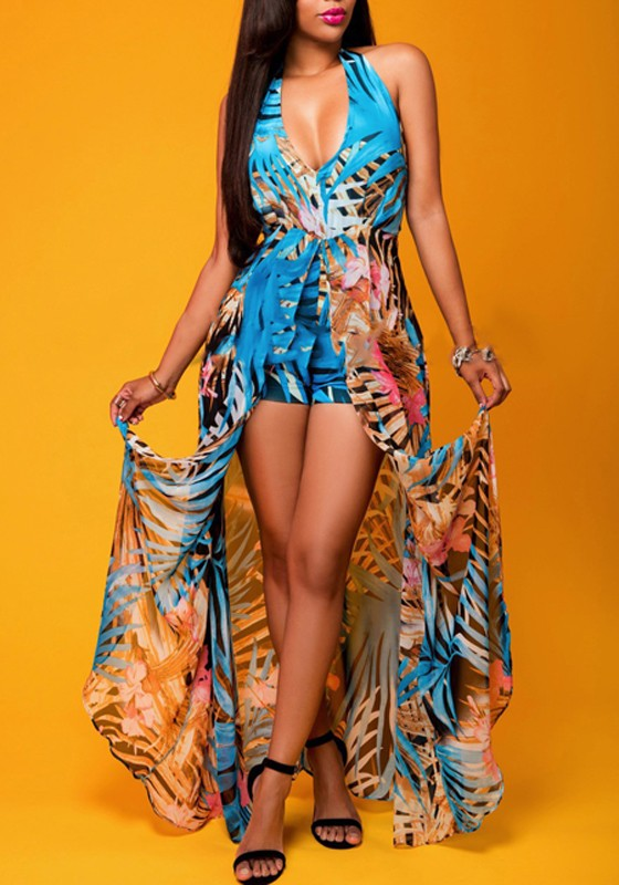 b6d940d09e6 Blue Floral Print Halter Neck V-neck Plunging Neckline Backless Swallowtail  Maxi Chiffon Romper with Maxi Overlay - Shorts - Bottoms