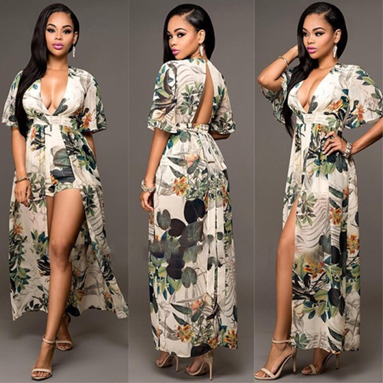 6214fb647f94 Multicolor Floral Print V-neck Backless Elbow Sleeve Swallowtail Maxi Chiffon  Romper with Maxi Overlay - Shorts - Bottoms