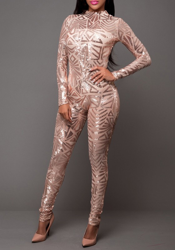 Rose Gold Geometric Sequin Round Neck Long Sleeve Fashion