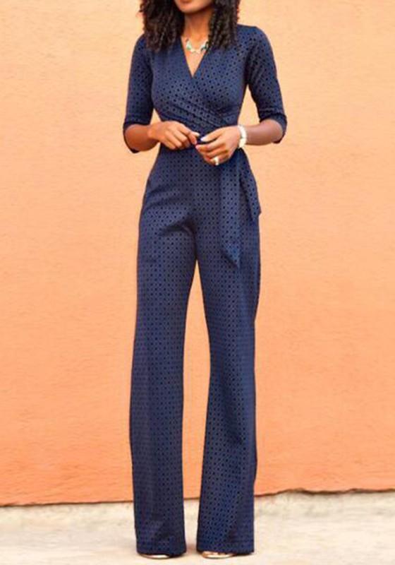 Navy Blue Floral Belt High Waisted Long Jumpsuit - Jumpsuit Pants ...