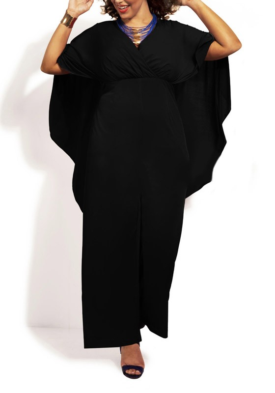 Black Plain Cape Cloak Plus Size Prom Wide Leg Palazzo Jumpsuit