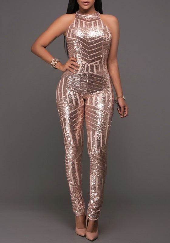 50946a84e8 Champagne Geometric Sparkly Sequin Halter Neck Backless Bodysuit Clubwear  Jumpsuit