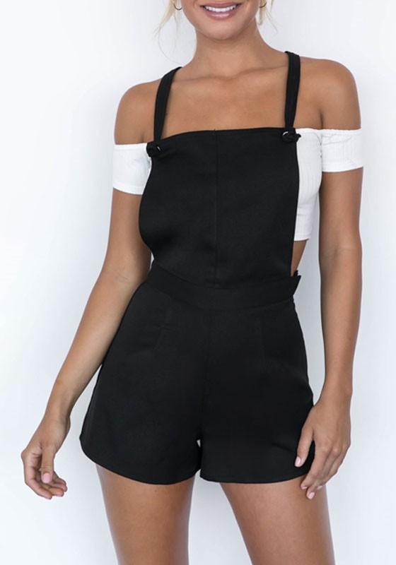 29ce322851a Black Plain Zipper High Waisted Overalls Cute Teen Casual Short Jumpsuit -  Shorts - Bottoms