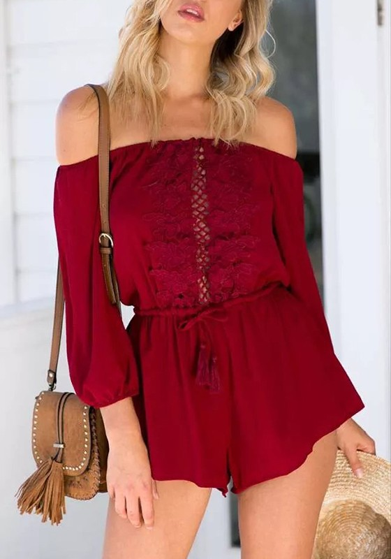 0e5eeb351d7 Wine Red Patchwork Lace Hollow-out Drawstring Bandeau Off-Shoulder Sexy Short  Jumpsuit