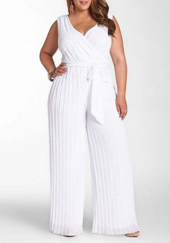 white plain sashes high waisted plus size wide leg long jumpsuit