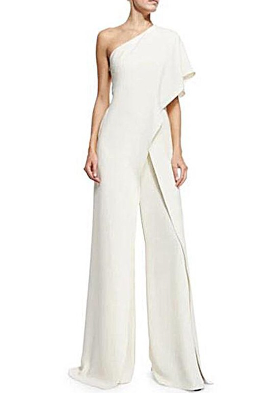 56b0cb81887 White Asymmetric Shoulder Ruffle Irregular High Waisted Wide Leg Long  Jumpsuit - Jumpsuits - Bottoms