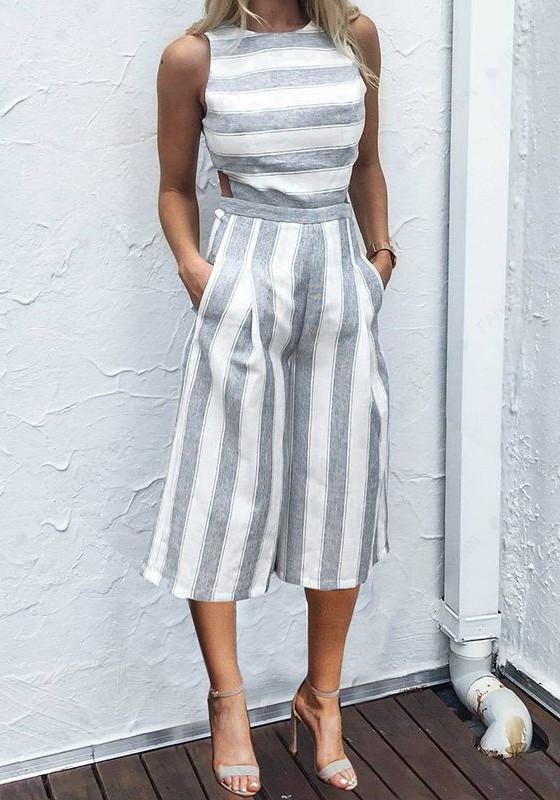 4258d62c764 Grey Striped Pockets Cut Out Zipper Fashion Seven s Palazzo Jumpsuit -  Jumpsuits - Bottoms