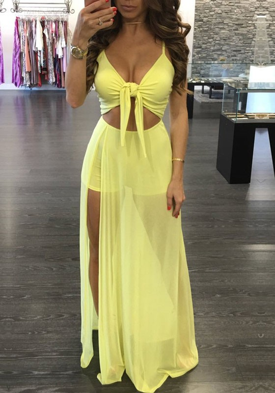 Yellow Lace Up Grenadine Cut Out Spaghetti Strap Short