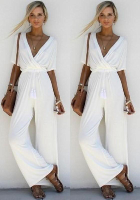 Décontracté Pantalon Cou Blanc Combinaison Femme V Large Manches Courte Mode HD29EI
