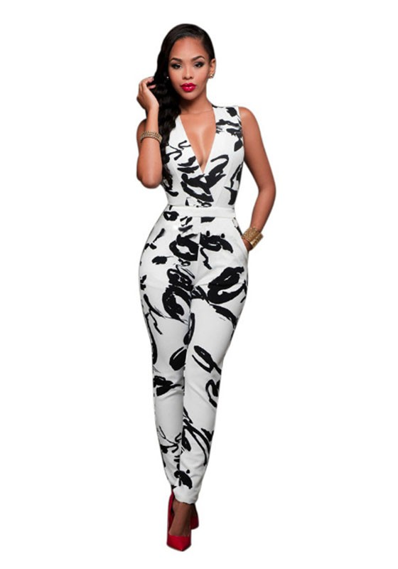 Black White Floral Pockets High Waisted Slim Long Jumpsuit