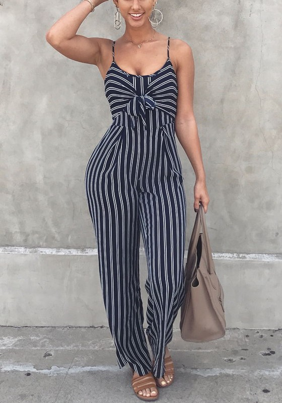 46522b0afb00 Black-White Striped Cut Out Backless Lace-up Spaghetti Strap Wide Leg Long  Jumpsuit - Jumpsuits - Bottoms
