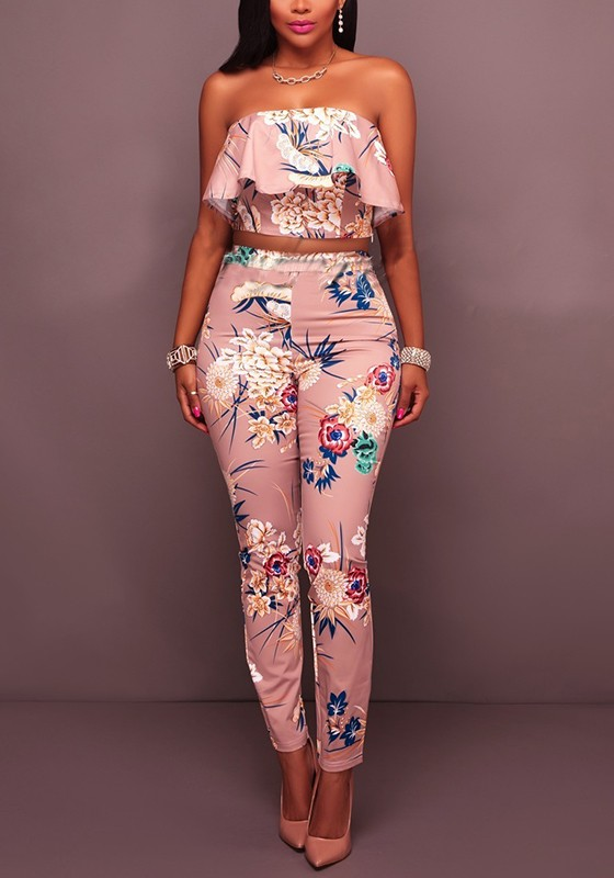 c3d0034cde6b Pink Colorful Bohemian Floral Ruffle Off Shoulder Two-pieces Homecoming  Party Long Jumpsuits - Jumpsuits - Bottoms