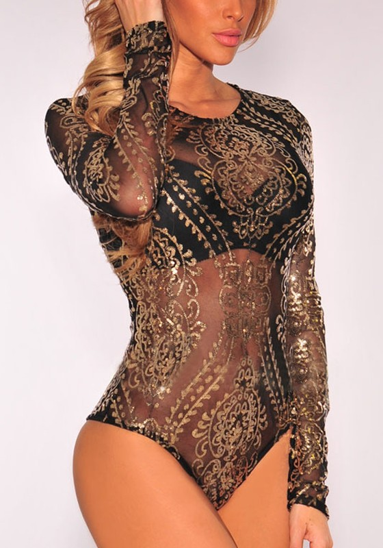 fe30257b00 Black-Gold Floral Sequin Bronzing Long Sleeve Glitter Bedazzled Bodysuit  Short Jumpsuit - Shorts - Bottoms