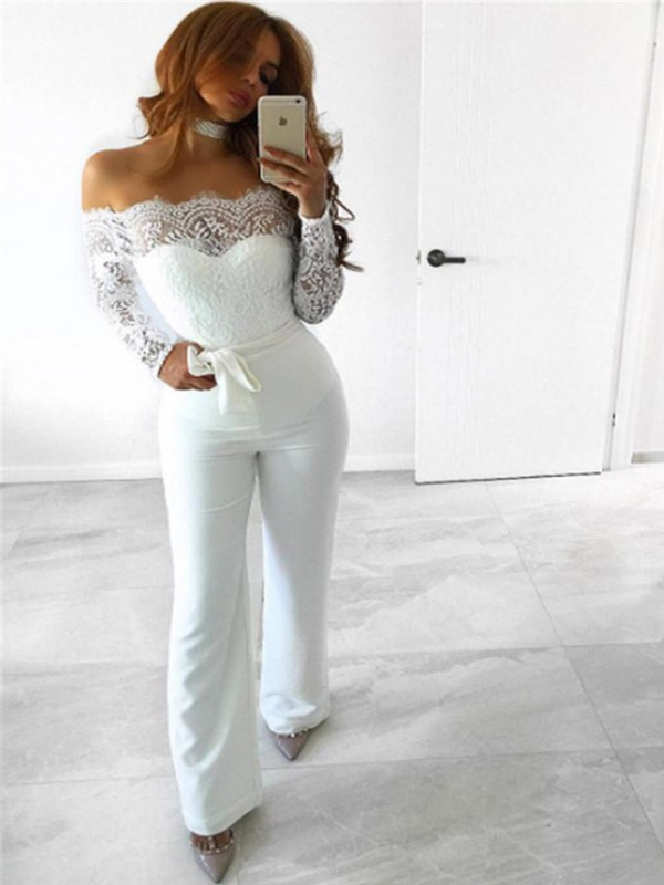 White Patchwork Lace Sashes Backless Off Shoulder Outfit