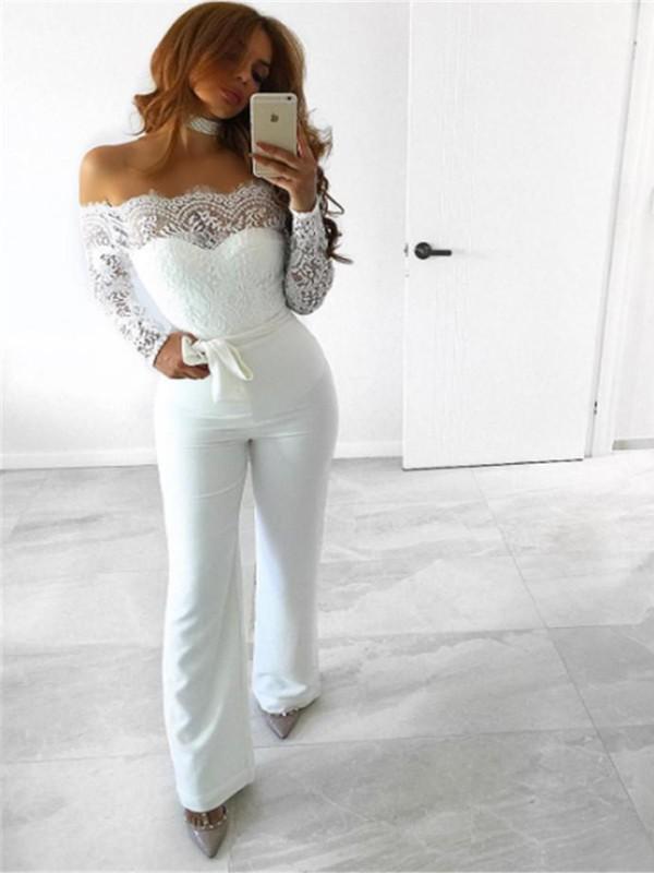 White Patchwork Lace Sashes Backless Off Shoulder Outfit Wide Leg Long Jumpsuit - Jumpsuit Pants ...