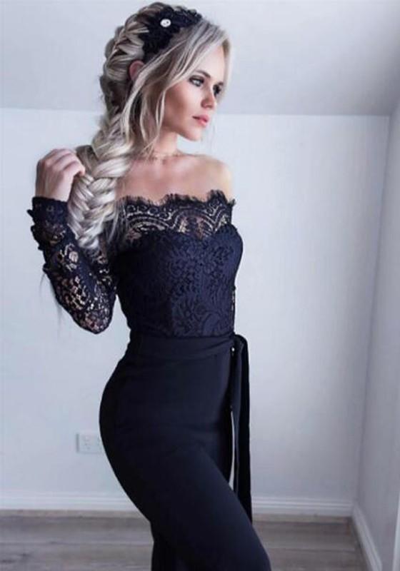 a899d0ef8ec Black Patchwork Lace Sashes Backless Off Shoulder Prom Party Wide Leg Long  Jumpsuit - Jumpsuits - Bottoms