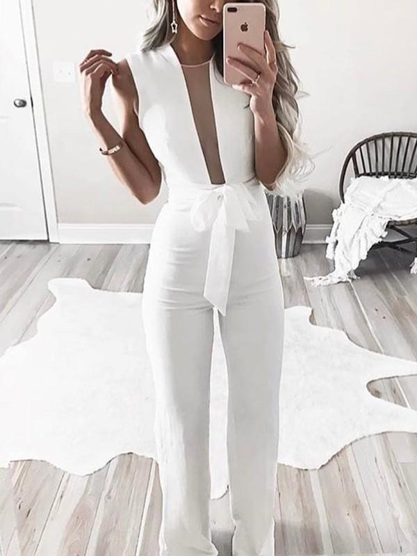 combinaison de bureau longue avec ceinture d collet plongeant l gant soir e blanche femme. Black Bedroom Furniture Sets. Home Design Ideas