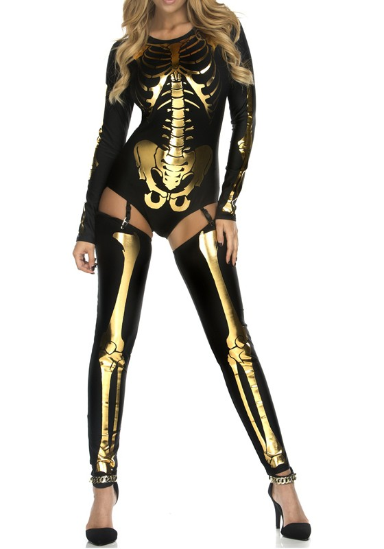 c61a2ebfe884 Black-Golden The Vampire Halloween Costumes Skeleton Ghost Bride The Queen  Long Jumpsuit - Jumpsuits - Bottoms